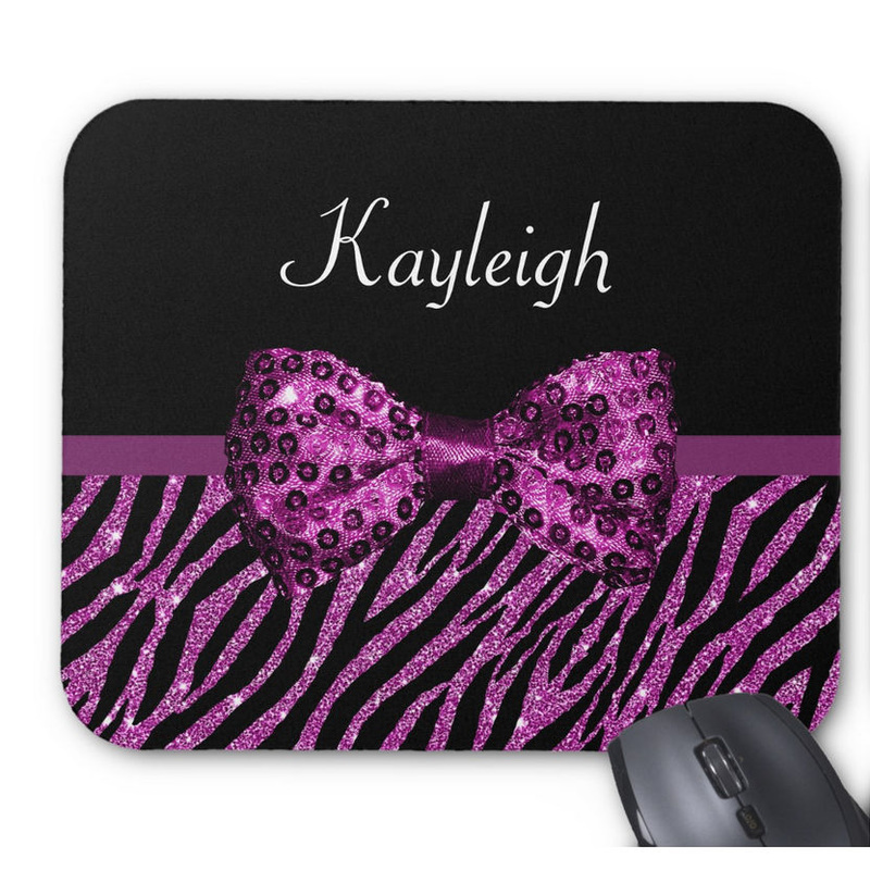 Chic Purple Zebra Print FAUX Glitz Bow With Girls Name Mouse Pad