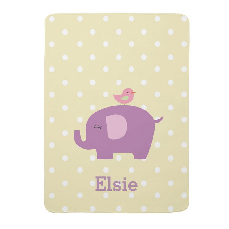 Cute Purple Elephant With Pink Bird Personalized Baby Blanket