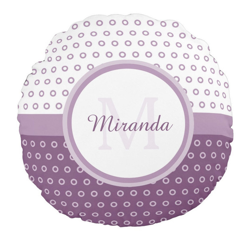 Mod Purple and White Polka Dots Monogram With Name Round Pillow