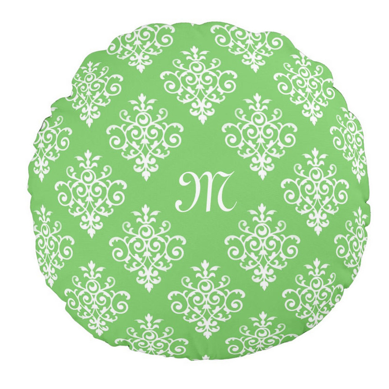 Modern Monogrammed Bright Green Damask Pattern Round Pillow
