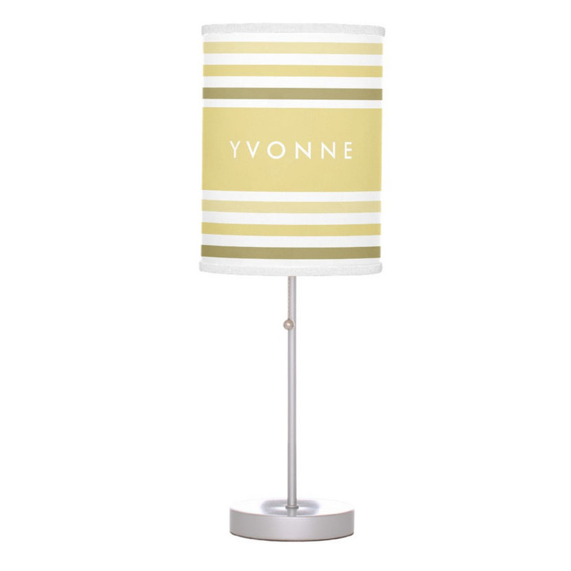 Fashionable Custard Yellow Name and Ombre Stripes Desk Lamps