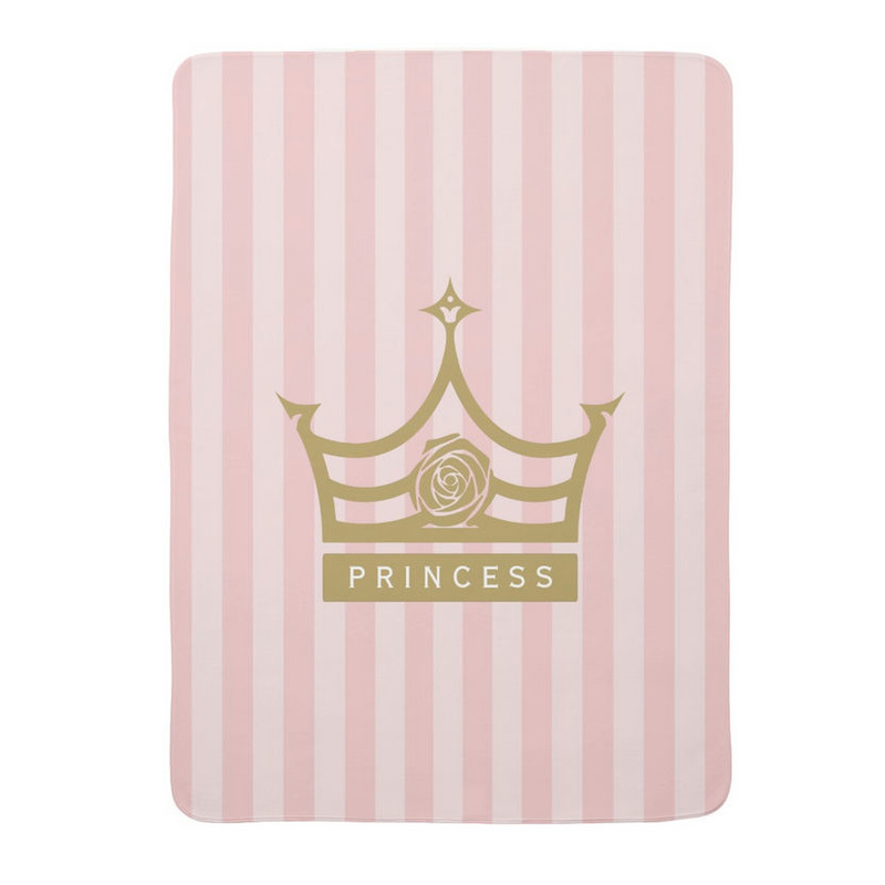 Chic Pink Stripes and Gold Rose Princess Crown Stroller Blankets