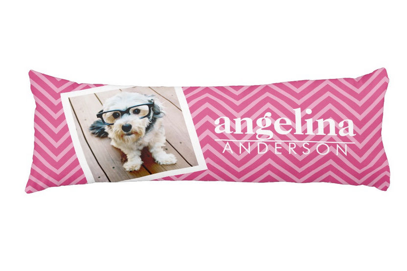 Trendy Photo with Hot Pink Chevron Pattern and Custom Name Body Pillow