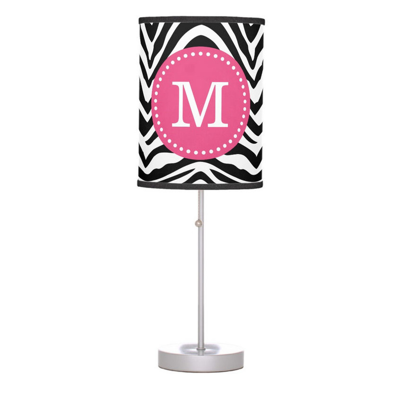 Black and Pink Zebra Print Custom Monogram Desk Lamp