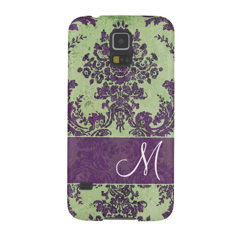 Vintage Purple and Green Damask Pattern With Monogram Galaxy S5 Case