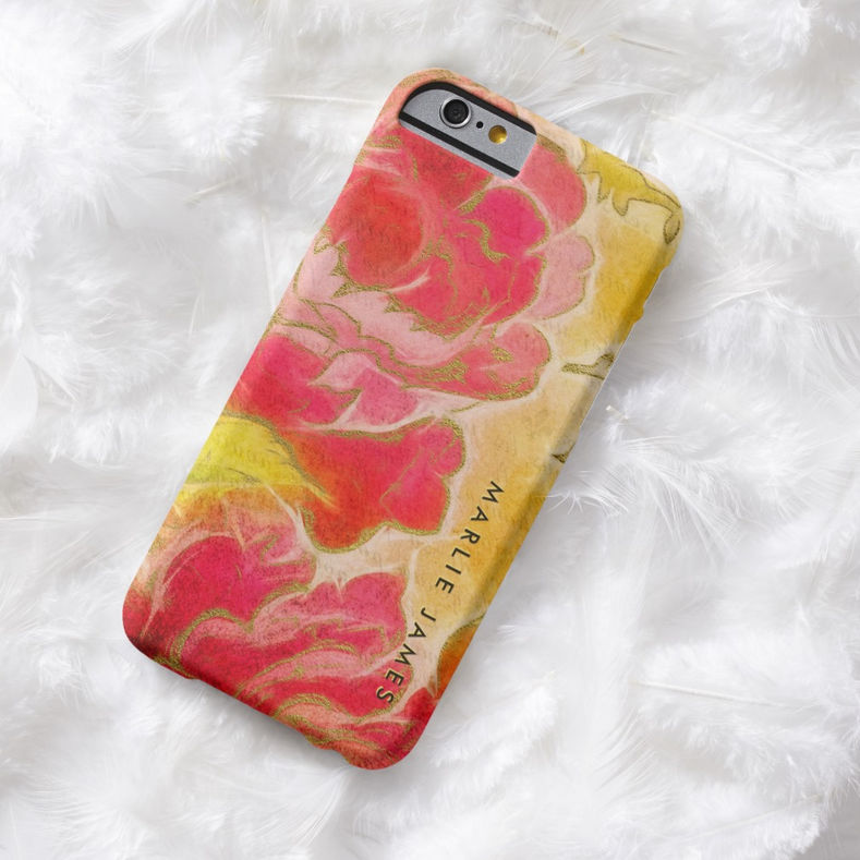 Vintage Rose Floral Feminine Watercolor With Name Barely There iPhone 6 Case