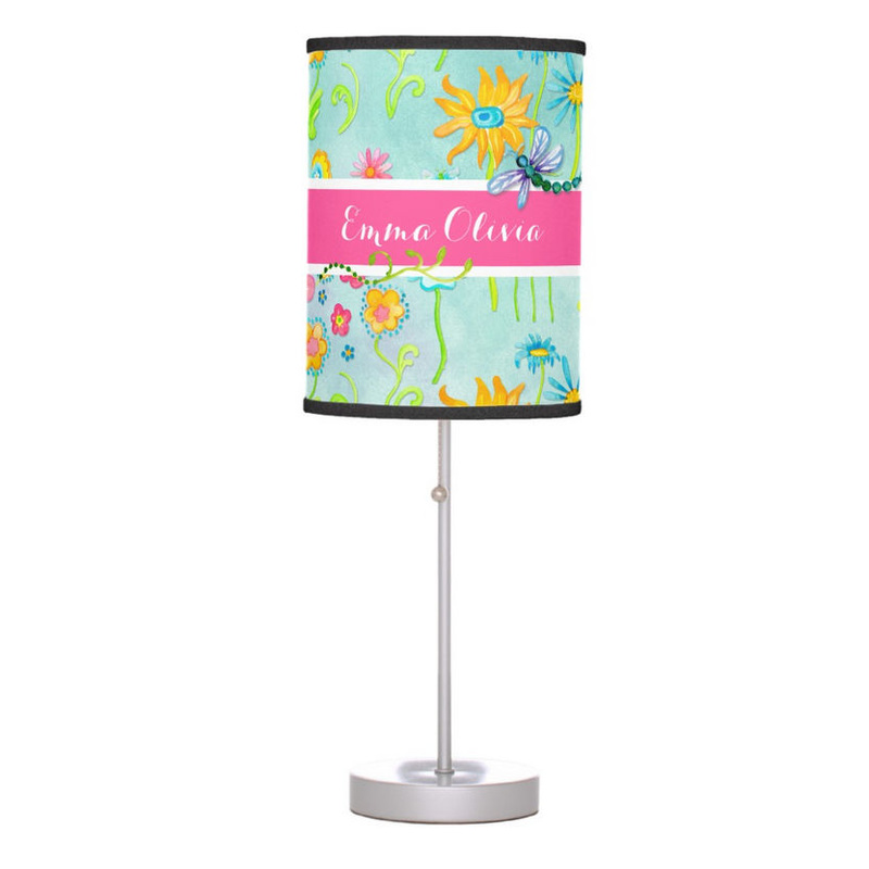 Whimsical Watercolor Flowers Dragonfly Butterfly With Girls Name Desk Lamp