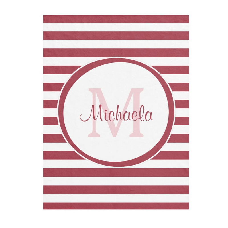 Chic Big Stripes Monogrammed Name in Red and White Fleece Blanket