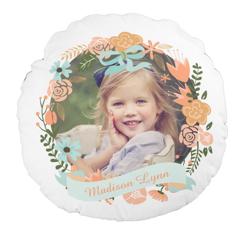 Peach and Mint Girly Floral Wreath With Photo and Custom Name Round Pillow