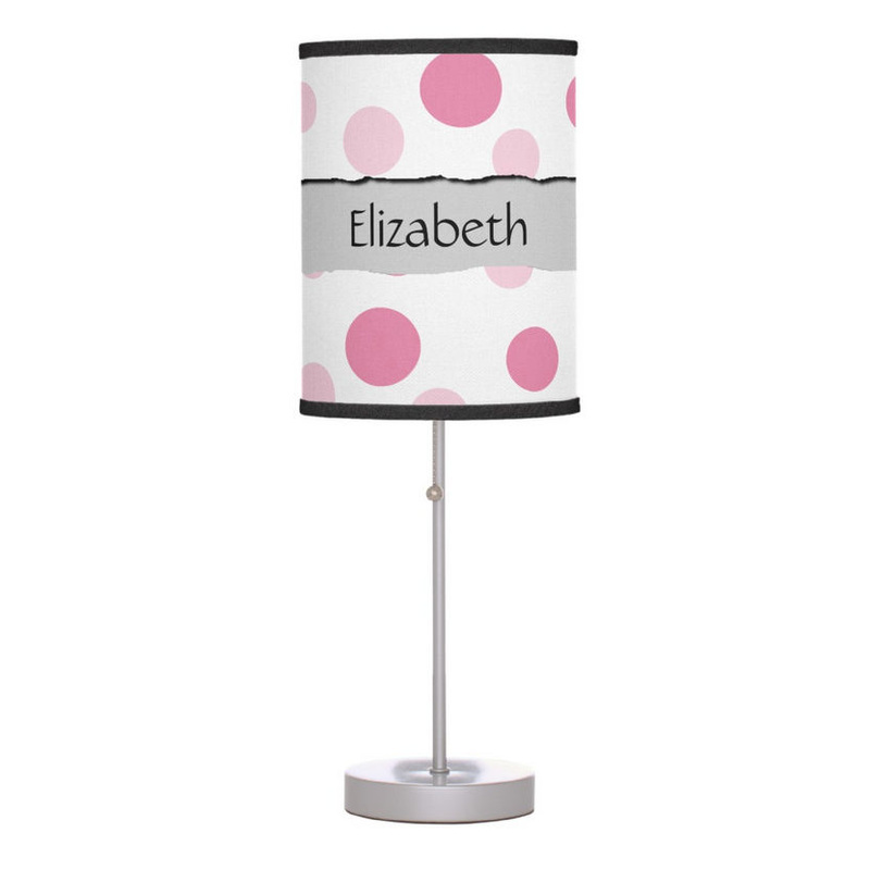 Fun Girly Pink Circles With Ripped Paper Stripe For Girls Name Personal Desk Lamp