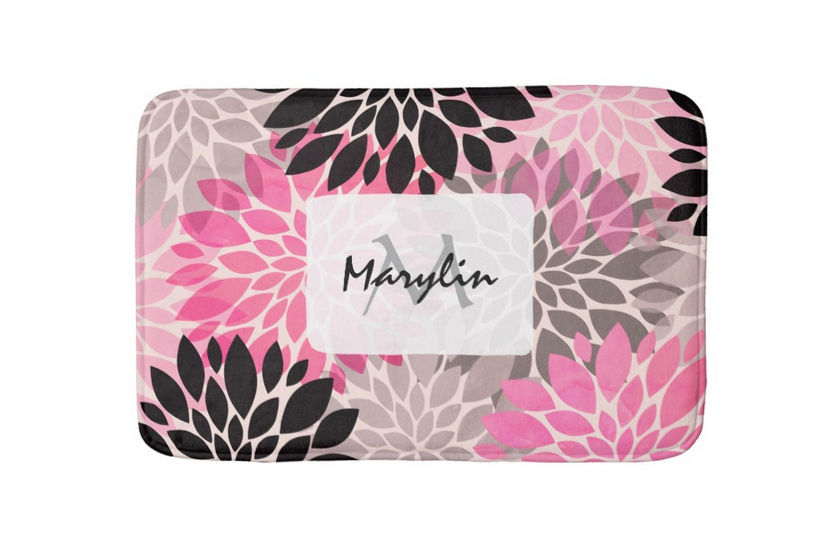 Modern Hot Pink Black Floral Pattern With Name and Monogram Bath Mat