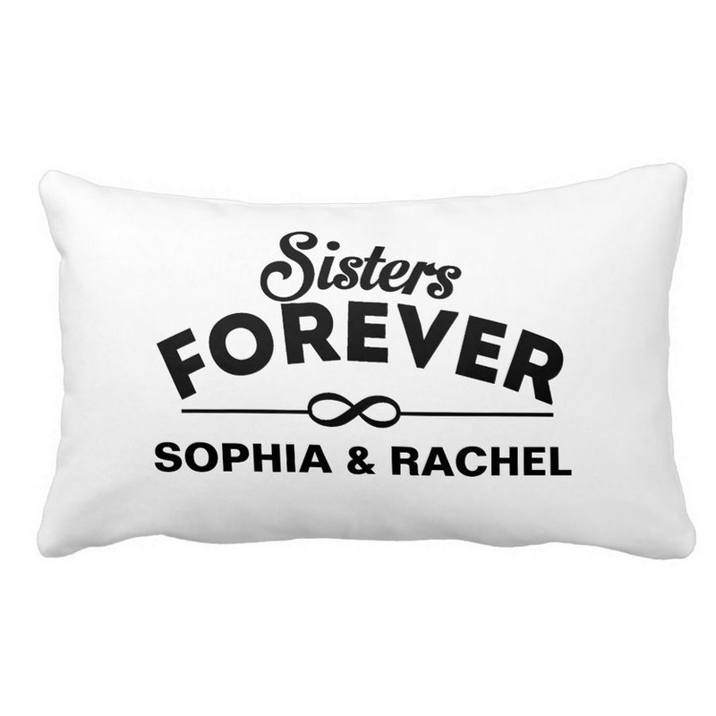 Chic Black and White Sisters Forever With Personalized Names Lumbar Pillow