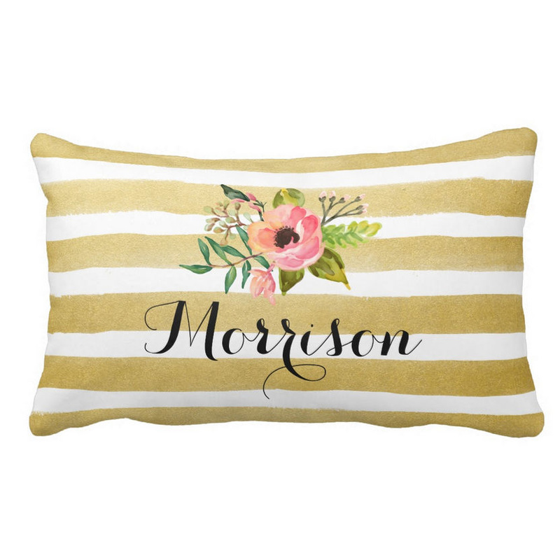 Chic Watercolor Gold and White Stripes Flower Monogram Throw Pillow