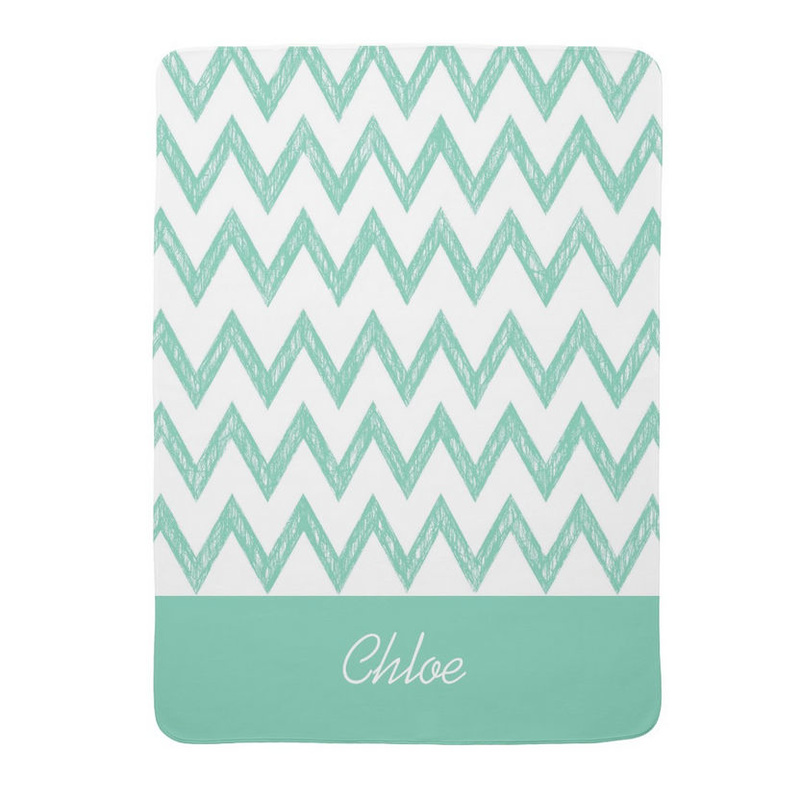 Trendy Pencil Mint Green Chevron Zigzags With Name Stroller Blankets