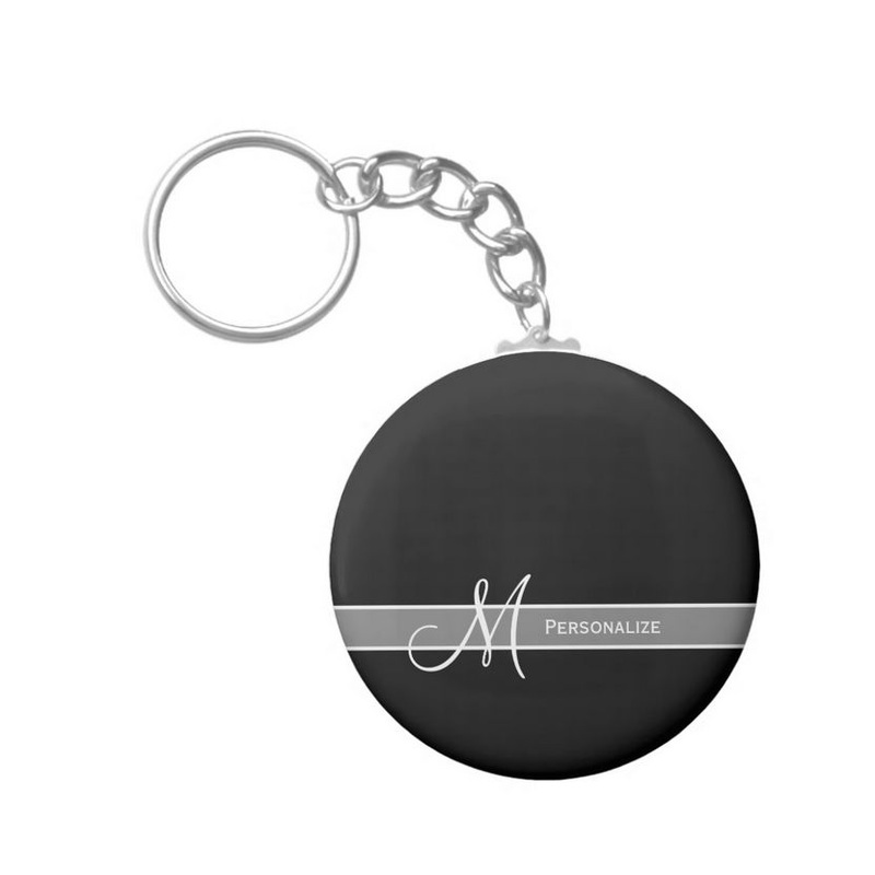 Elegant Black and White Monogram With Name Basic Round Button Keychain