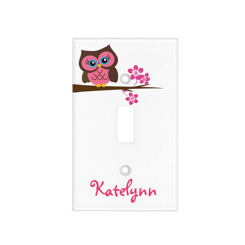 Cute Pink Owl on Blossom Branch With Personalized Name Light Switch Cover