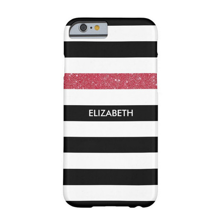 Modern Black Stripes FAUX Red Glitz and Name Barely There iPhone 6 Case