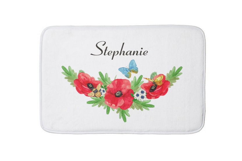 Whimsical Vintage Red Poppy Watercolor Flowers With Name Bath Mat