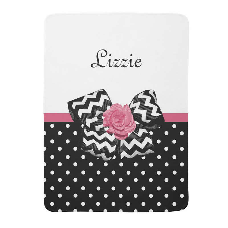 Cute Black Dots Pink Rose Chevron Bow and Name Stroller Blankets