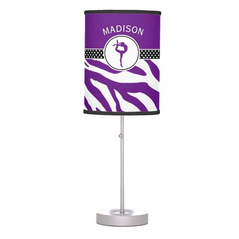 Trendy Purple Zebra Print Gymnastics With Personalized Name Table Lamp