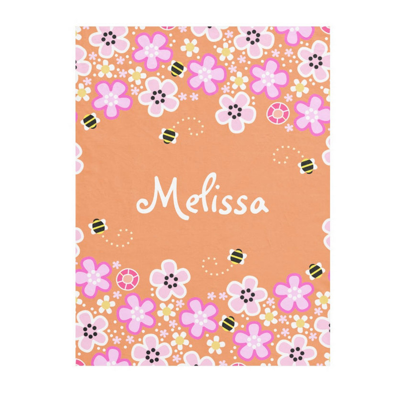 Pretty Pink Flowers and Cute Bumble Bees Personalized With Name Fleece Blankets