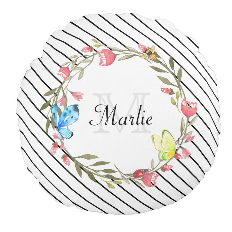 Girly Butterfly Floral Thin Black and White Diagonal Stripes and Name Round Pillow