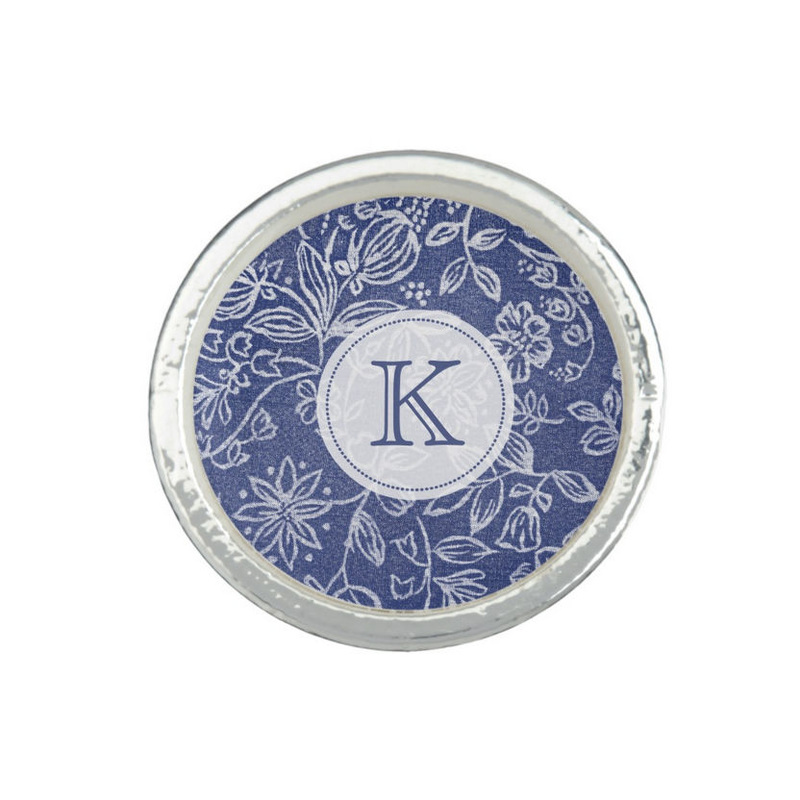 Vintage Blue and White Floral Custom Monogrammed Initial Rings