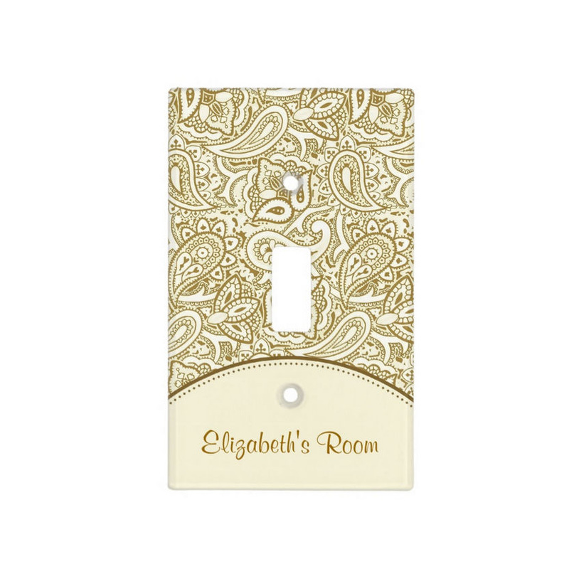 Luxury Gold and Ivory Paisley Damask With Name Light Switch Cover
