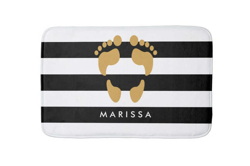 Trendy Gold Footprints With Name Black and White Stripes Bath Mat