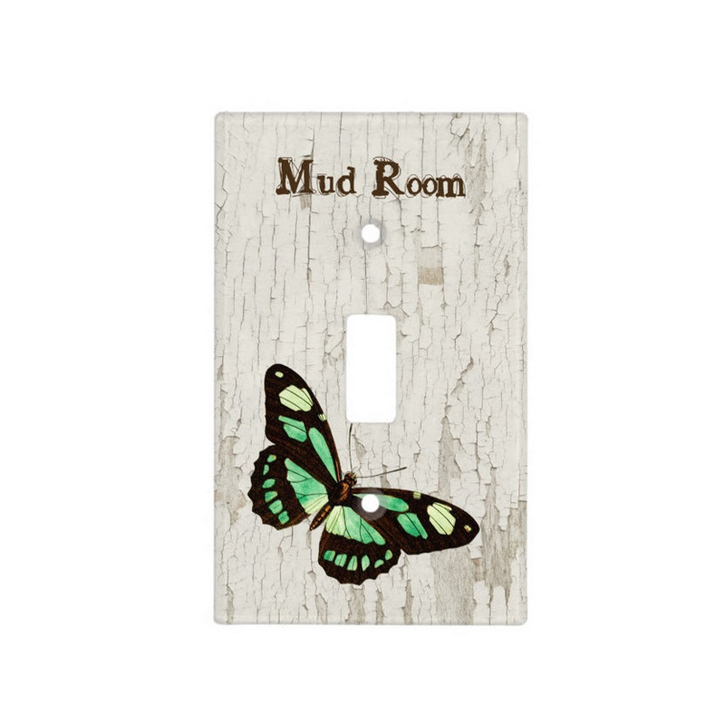 Rustic White Wood Mud Room Pretty Green Butterfly Light Switch Cover