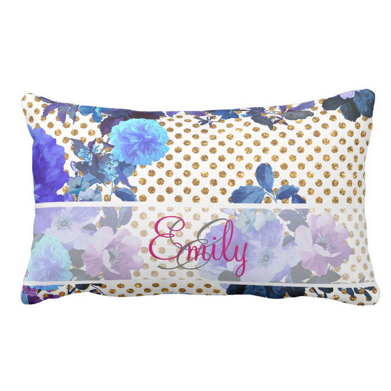 Monogrammed Blue Floral Pattern Girly Gold Polka Dots and Name Throw Pillow