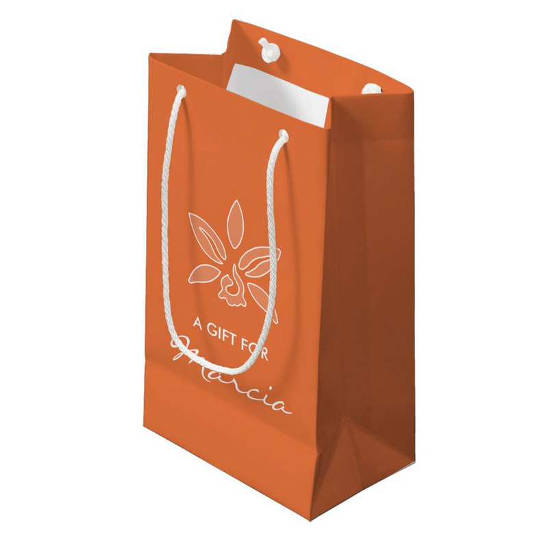 Elegant Orchid Simple Rich Orange Flower With Name Small Gift Bag