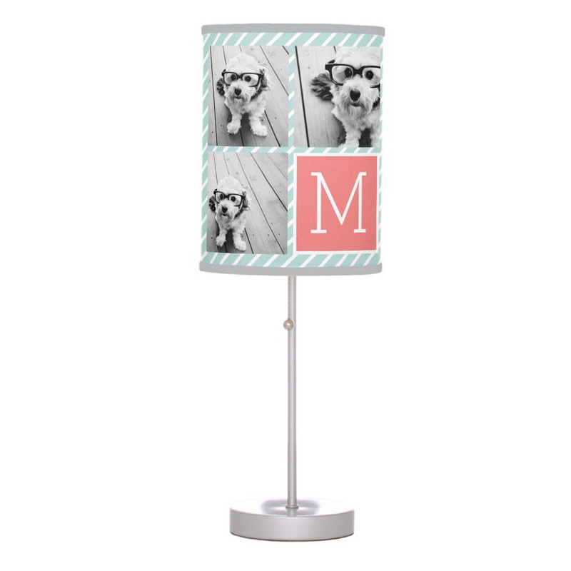 Modern Mint Stripes and Coral Photo Collage Custom Monogram Desk Lamp