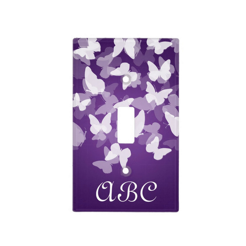 Pretty Purple Butterflies With Girly Monogram Switch Plate Covers