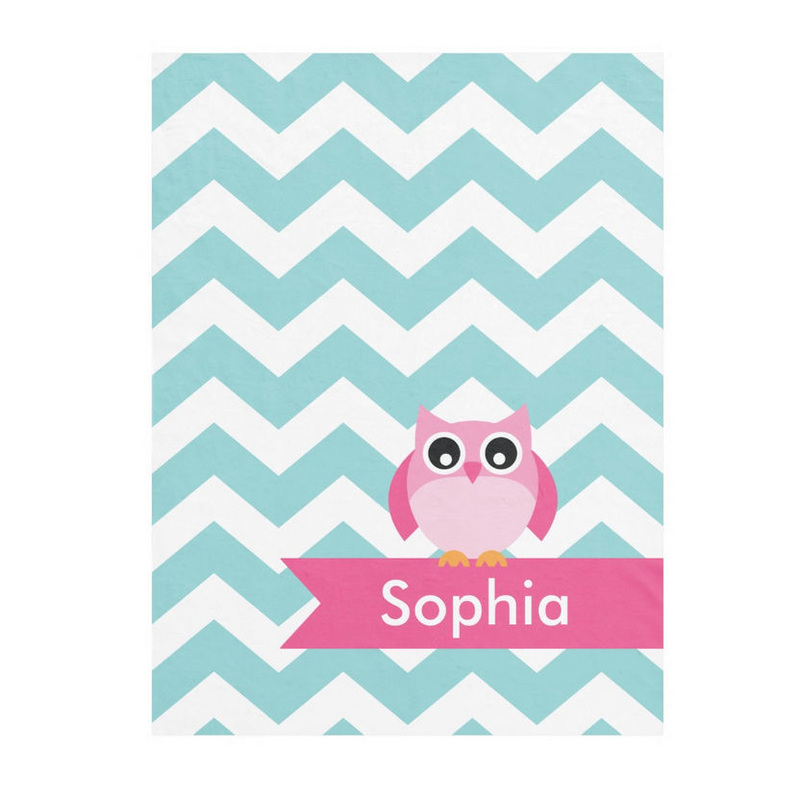 Personalized Light Teal Chevron With Cute Pink Owl and Name Fleece Blanket
