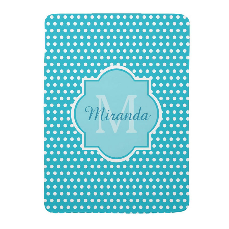 Stylish Turquoise Polka Dots Monogram With Name Baby Blankets