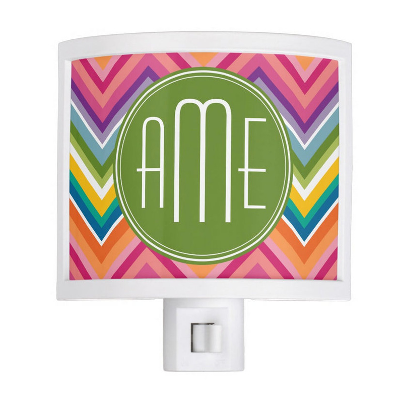 Colorful Rainbow Variegated Chevrons With Stylish Green Monogram Night Light