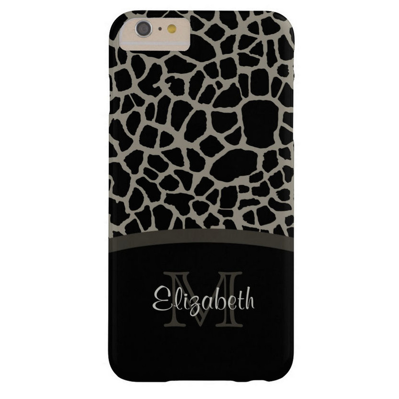 Luxury Giraffe Print Elegant Monogram and Name Barely There iPhone 6 Plus Case