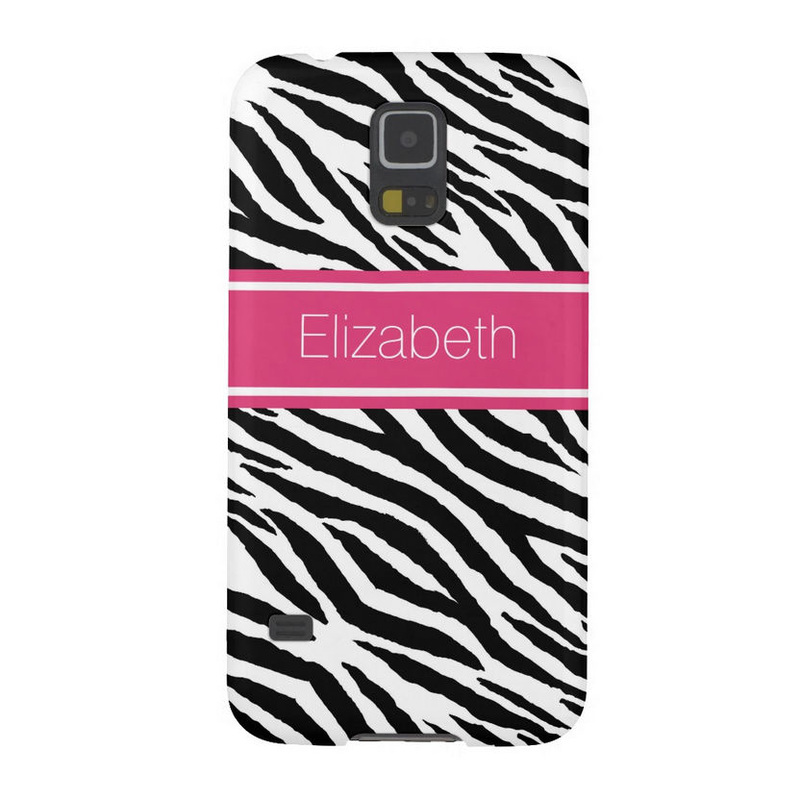 Modern Black and White Zebra With Pink Stripe and Name Galaxy S5 Covers