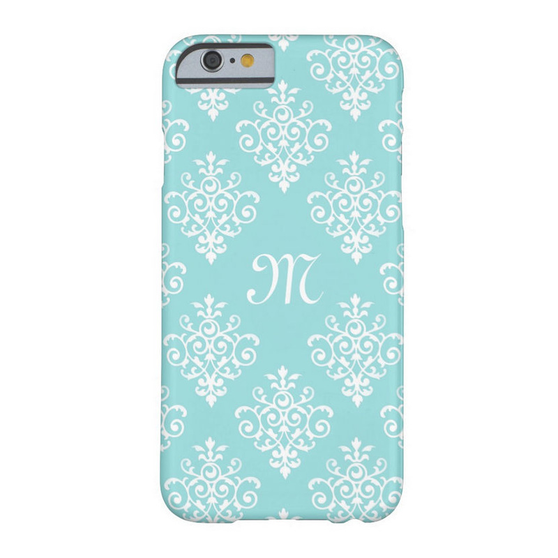 Pretty Aqua Blue and White Damask With Monogram iPhone 6 Case