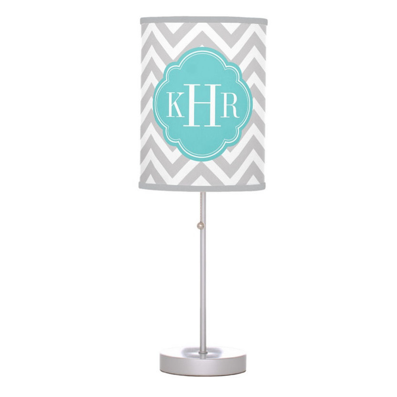 Gray and Light Turquoise Chevron With Chic Custom Monogram Desk Lamp