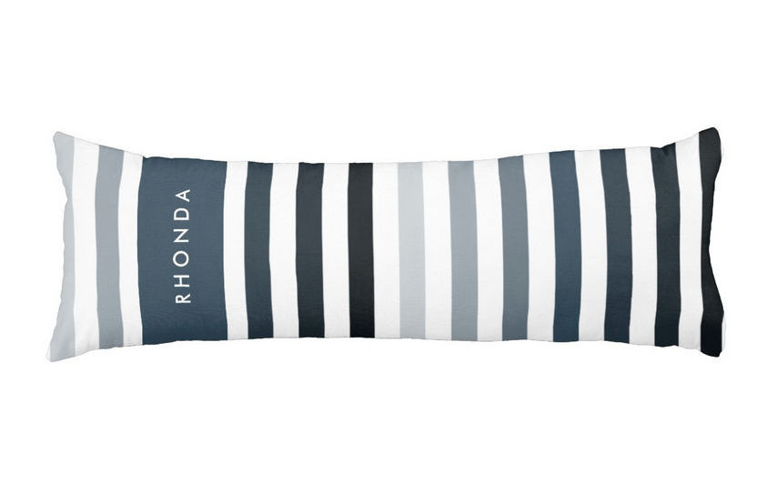 Modish Reflecting Pond Horizontal Stripes and Name Body Pillow