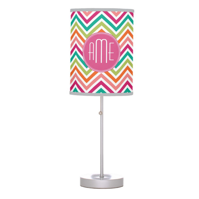 Trendy Hot Pink Teal Orange Chevrons Custom Monogram Desk Lamp