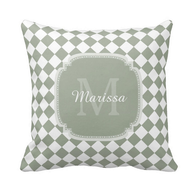 Trendy Sage Green Checked Monogrammed Name Pillow