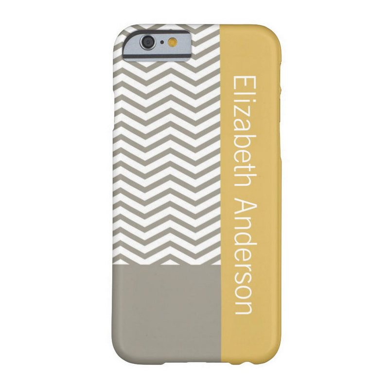 Preppy Gray Chevron Yellow Geometric With Name Barely There iPhone 6 Case