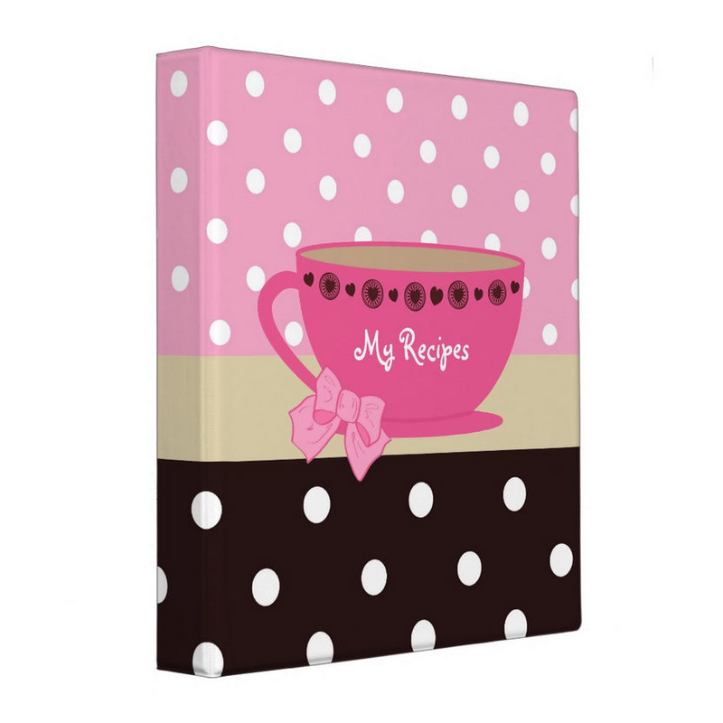 Girly Teacup Recipes Pink And Brown Polka Dots Personalized Binder