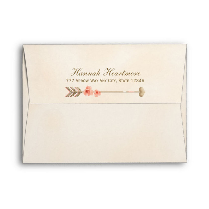 Boho Peach Rose and Chic Gold Tribal Heart Arrow Envelope