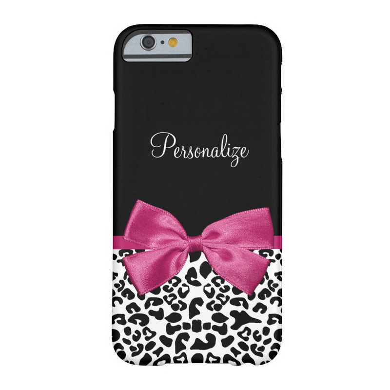 Pretty Leopard Print Name and Classy Deep Pink Bow iPhone 6 Case