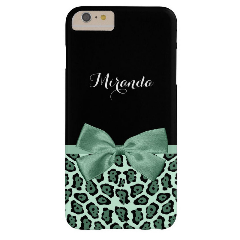 Cute Jaguar Print With Mint Green Ribbon and Name Barely There iPhone 6 Plus Case