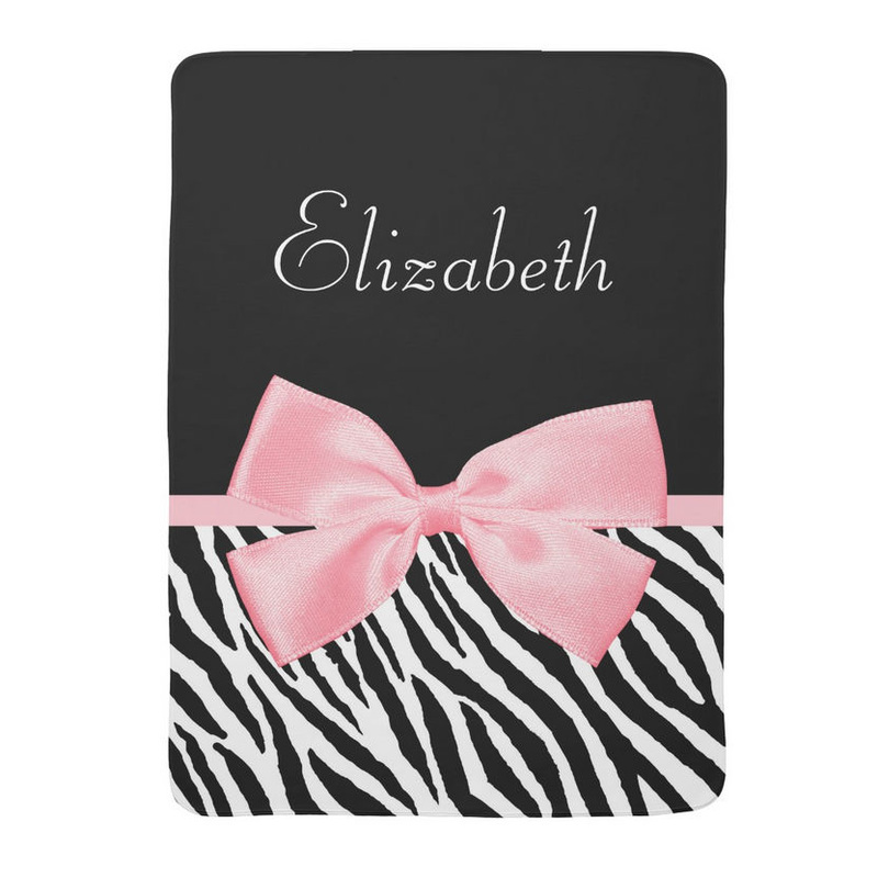 Chic Zebra Print Girly Light Pink Ribbon Baby Name Receiving Blankets